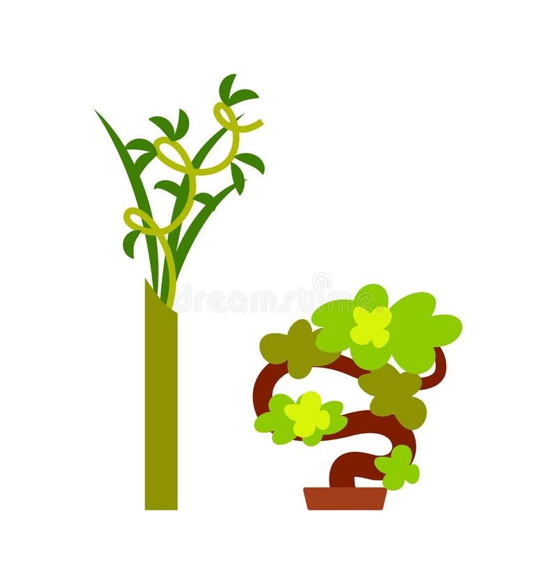Pianta verde in vaso e nel piccolo vettore d'avvolgimento dell'albero royalty illustrazione gratis