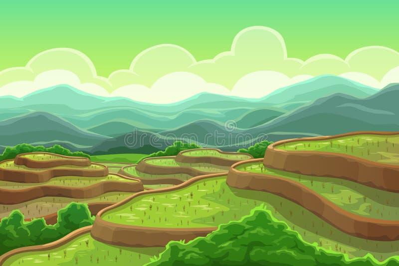 Piantagione delle risaie, paesaggio della cascata della montagna illustrazione vettoriale