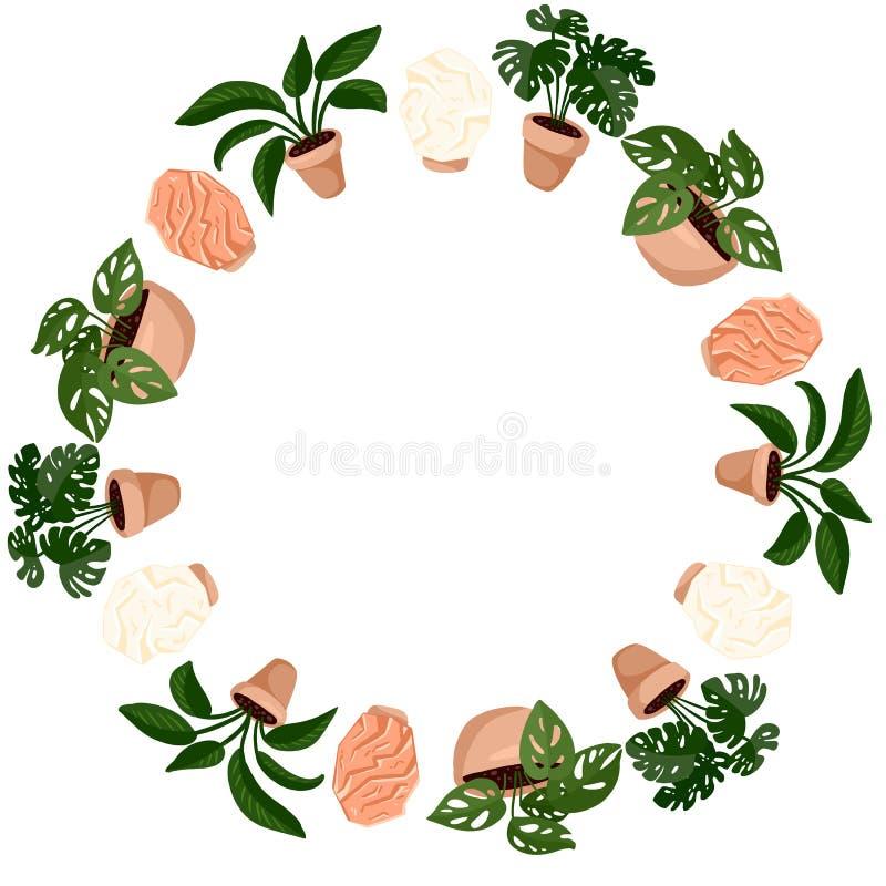 Piante d'ornamento in vignetta e lampade a incandescenza in forma di corona Serie di piante succulente di hygge Cozy lagar scandi royalty illustrazione gratis