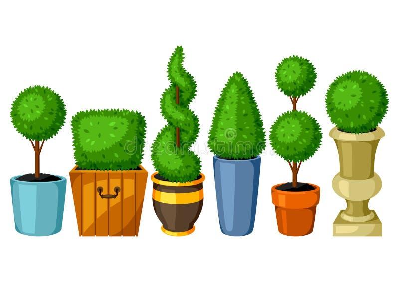 Piante di giardino dell'ars topiaria del legno di bosso Insieme degli alberi decorativi in vasi da fiori royalty illustrazione gratis
