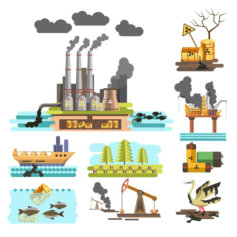 Piante di problema di inquinamento e nave officina e disboscamento ecologici royalty illustrazione gratis