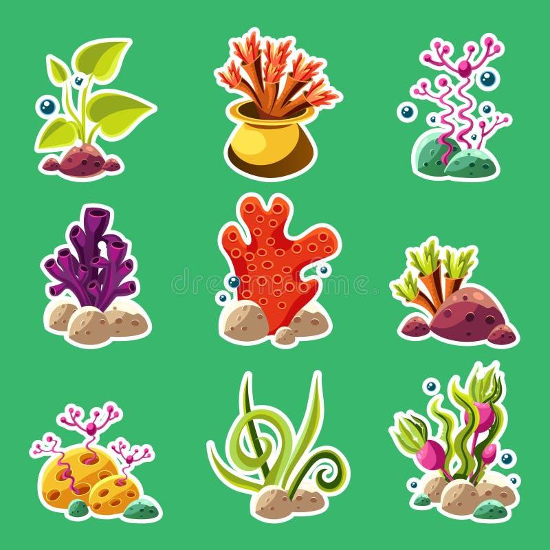 Piante e creature subacquee del fumetto illustrazione vettoriale