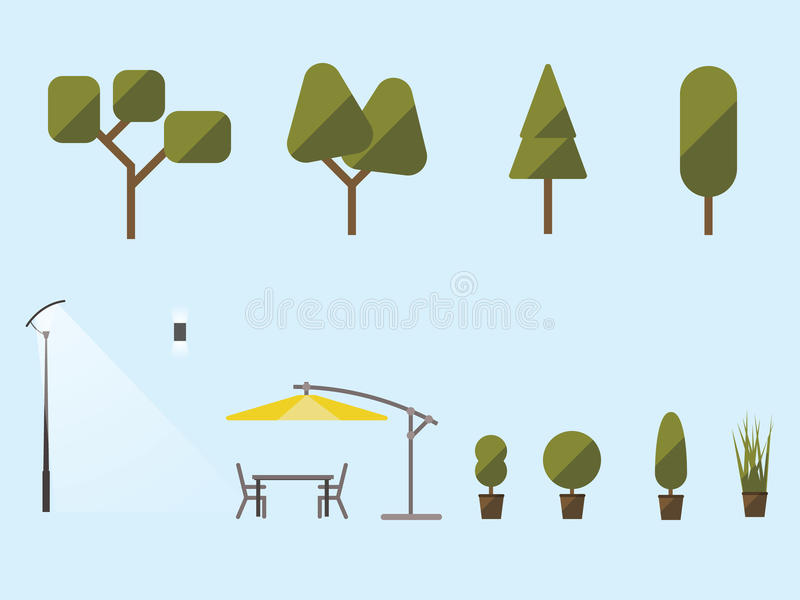 Piante e mobilia di giardino Un insieme degli arbusti, alberi fotografia stock libera da diritti