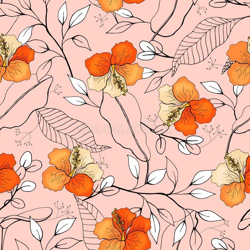 Piante isolate realistiche di fioritura della giungla, palma Brigantino disegnato a mano illustrazione vettoriale