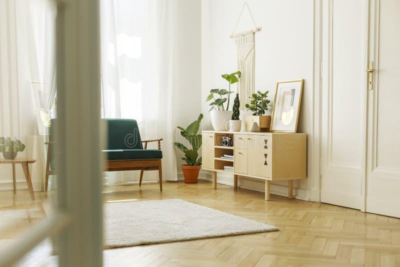 Piante sull'armadietto di legno con il manifesto nello spirito bianco dell'interno del sottotetto fotografia stock