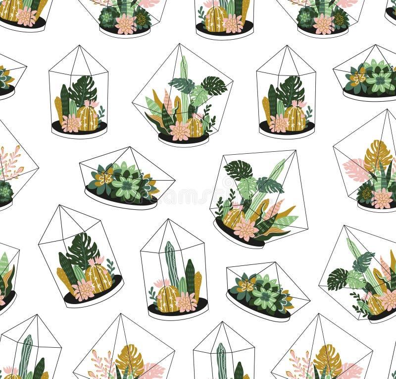 Piante tropicali contenute disegnate a mano della casa Modello senza cuciture di vettore scandinavo di stile illustrazione di stock