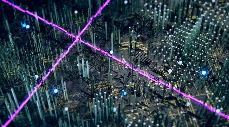 Pianura scura di tachology astratto con i toers di vetro e le linee elettriche d'ardore brillanti porpora attraversare rappresent illustrazione vettoriale