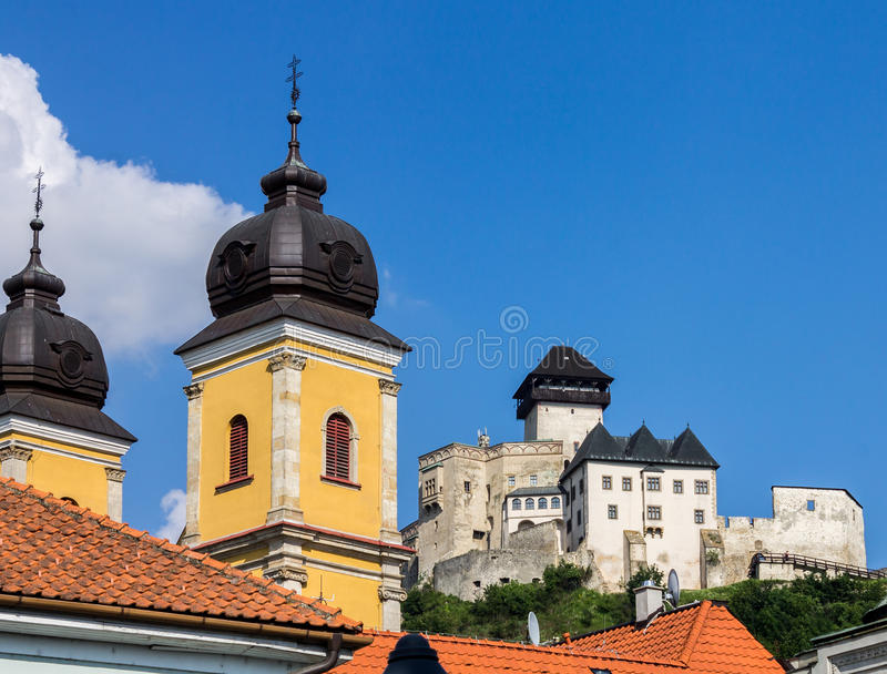 Piarist Church Trencin Castle royalty free stock photos