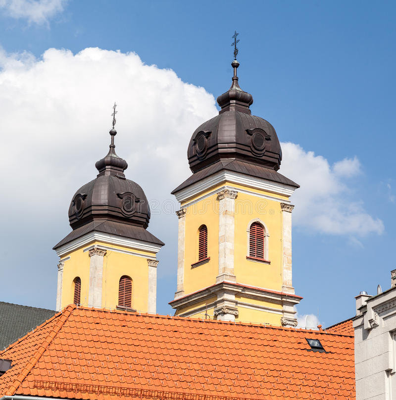 Piaristkerk Trencin royalty-vrije stock afbeelding
