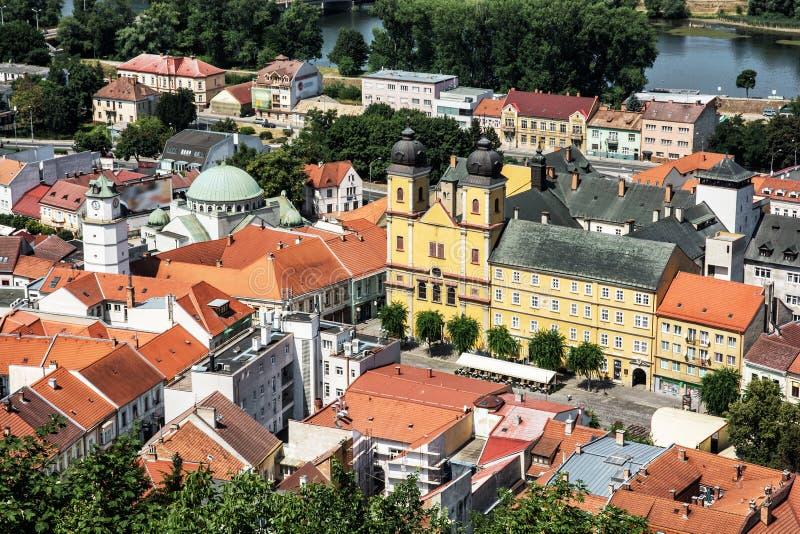 Piaristkerk van heilige Francis Xaversky in Trencin, Slowakije royalty-vrije stock afbeeldingen