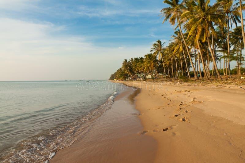 Piasek Długa plaża na Phu Quoc wyspie zdjęcie stock