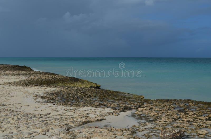 Piasek Myć law skały Wzdłuż Tropikalnego oceanu zdjęcie royalty free