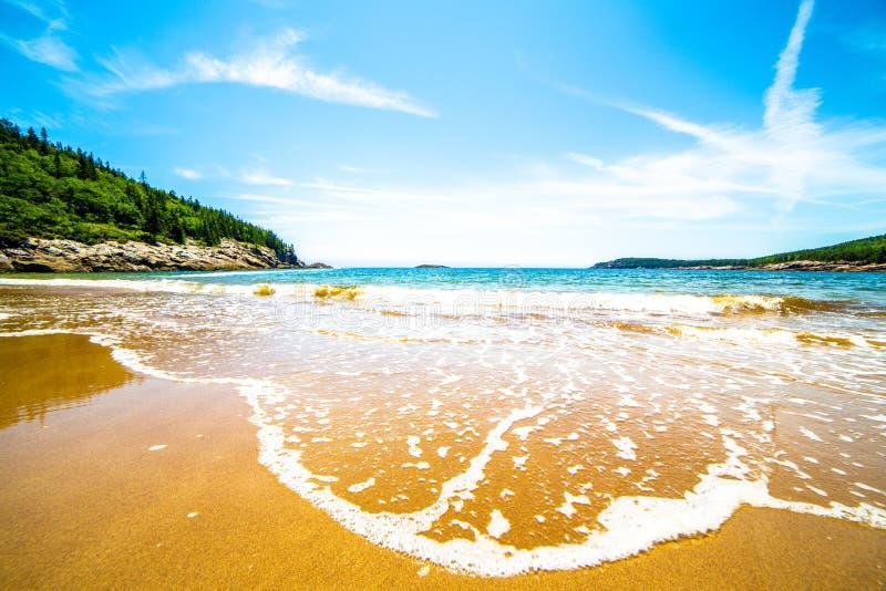 Piasek plaża, Acadia park narodowy, Maine, usa zdjęcie royalty free