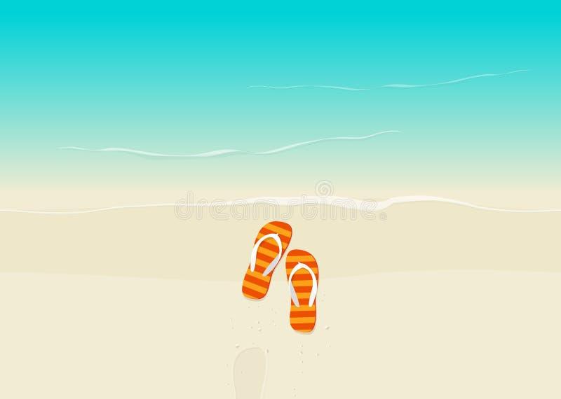 Piasek plaża z trzepnięcie klap wektoru ilustracją ilustracja wektor