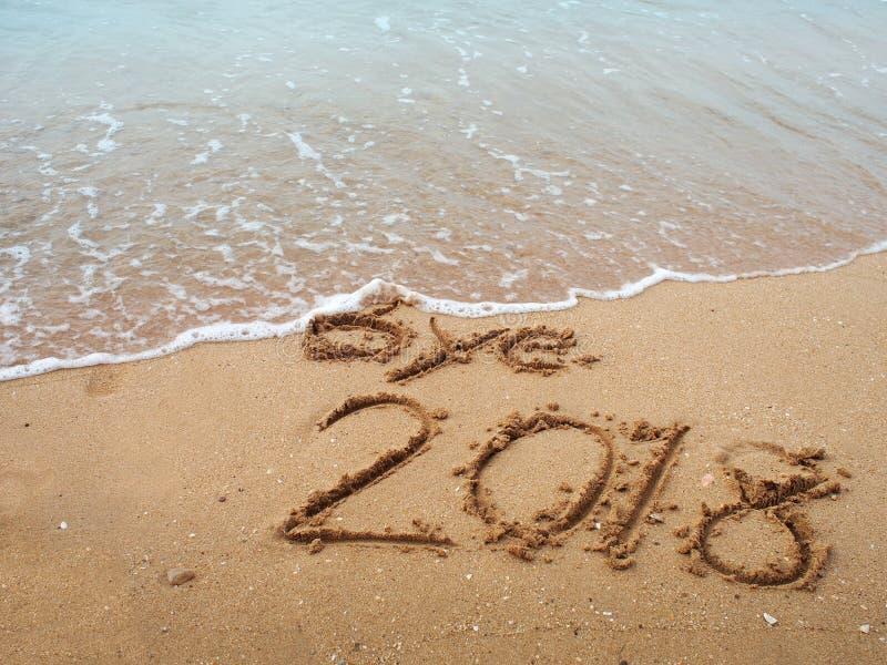 Piasek plaża z w zeszłym roku do widzenia zdjęcia stock