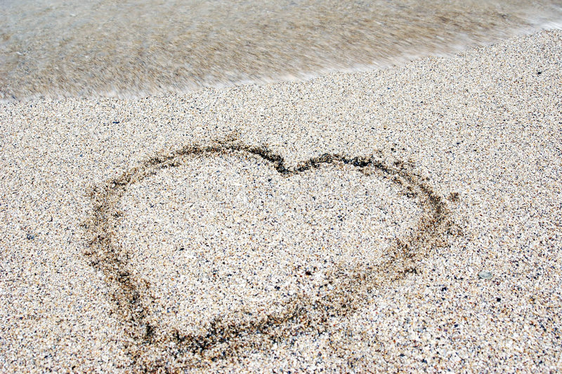 piasek plażowy serce zdjęcia royalty free