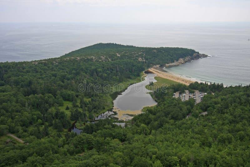 Piasek pla?a w Acadia parku narodowym, Maine zdjęcie stock