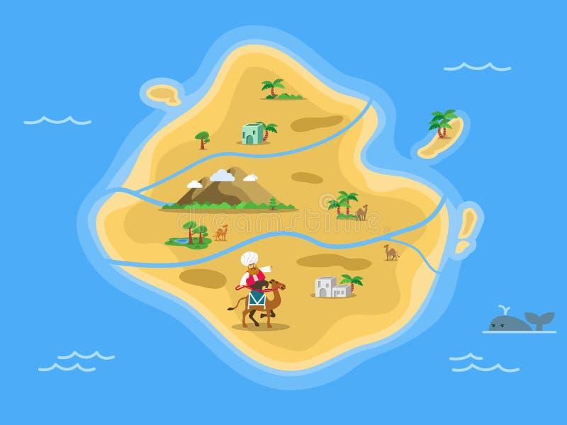 Piasek Pustynnej wyspy mapa royalty ilustracja