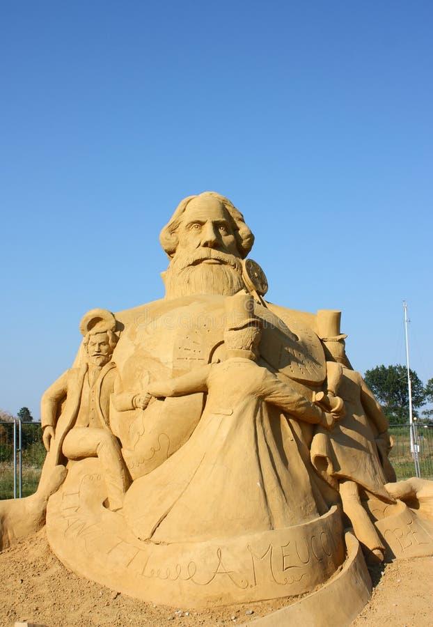 Piasek rzeźba Alexander Graham Bell zdjęcie stock