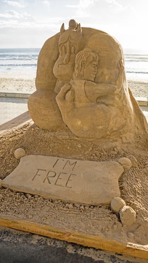 Piasek rzeźba Alladin film zdjęcie royalty free