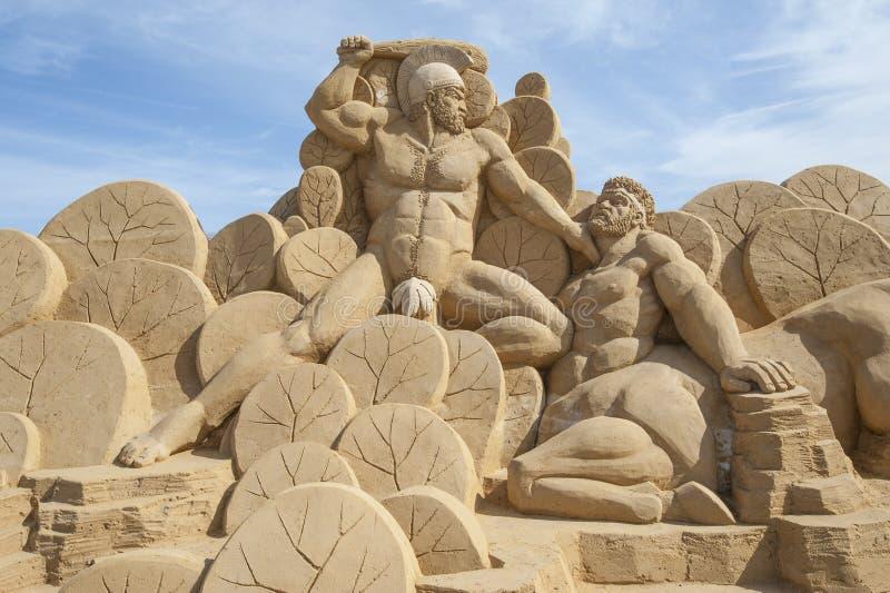 Piasek rzeźba Hercules obrazy stock