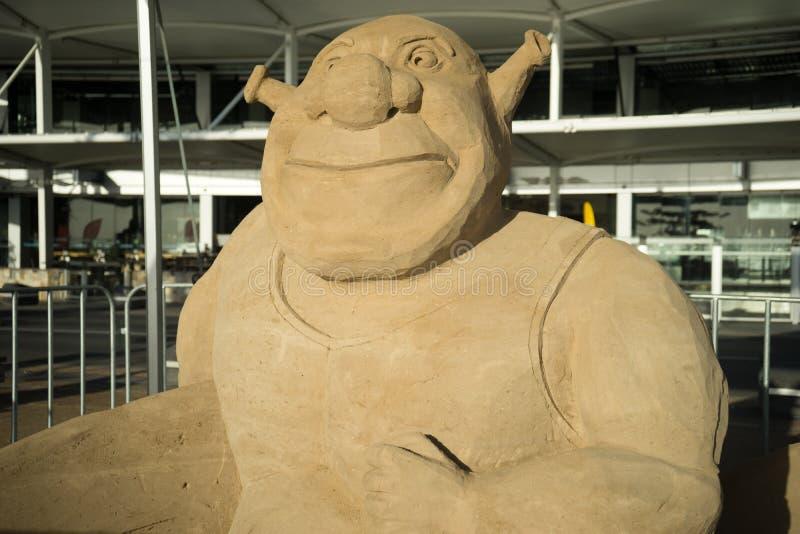 Piasek rzeźba Shrek obraz royalty free