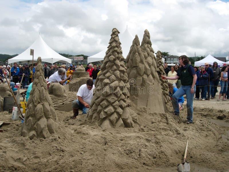 Piasek rzeźby wydarzenia Canon plaża Oregon zdjęcia stock