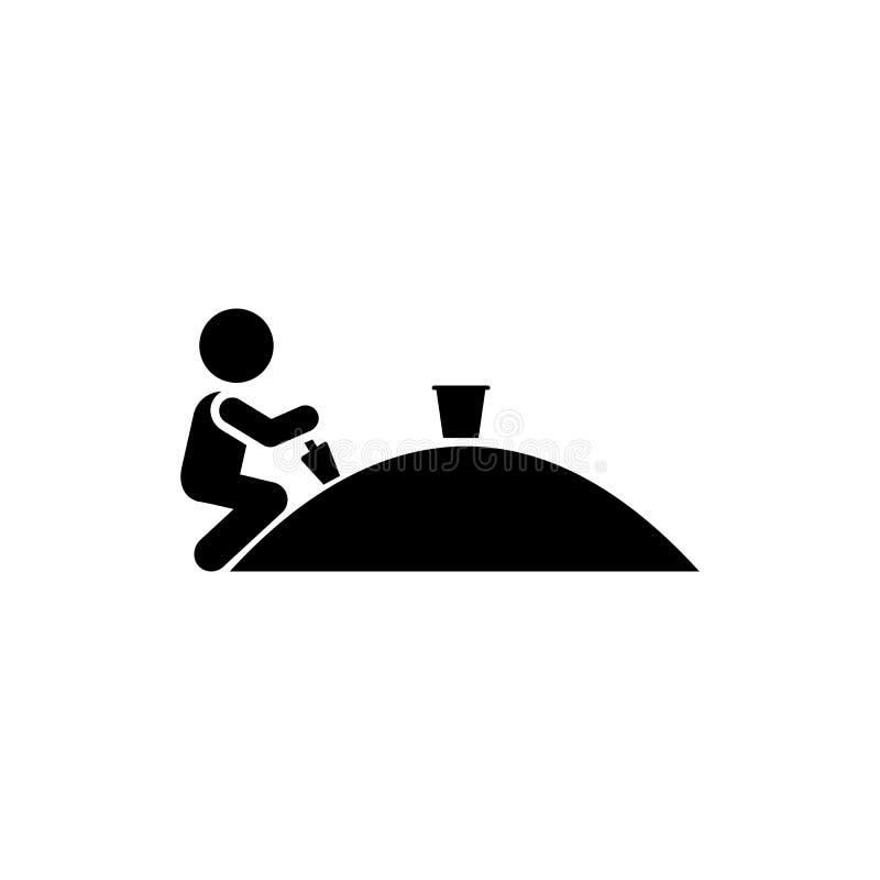 Piasek, sztuka, gra, chłopiec ikona Element dziecko piktogram Premii ilo?ci graficznego projekta ikona Znaki i symbol kolekci iko ilustracja wektor