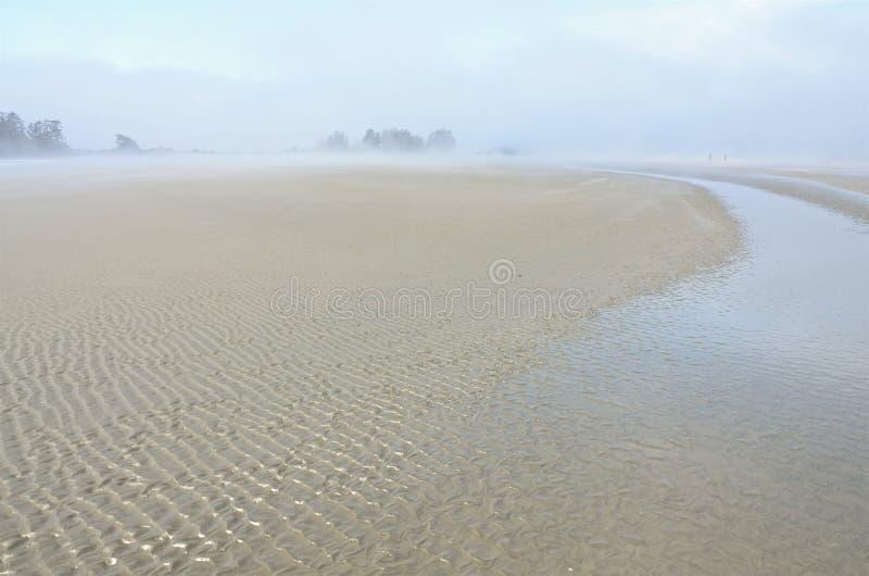 Piasek tworzy fale na seashore w ocean mgle, zdjęcia royalty free