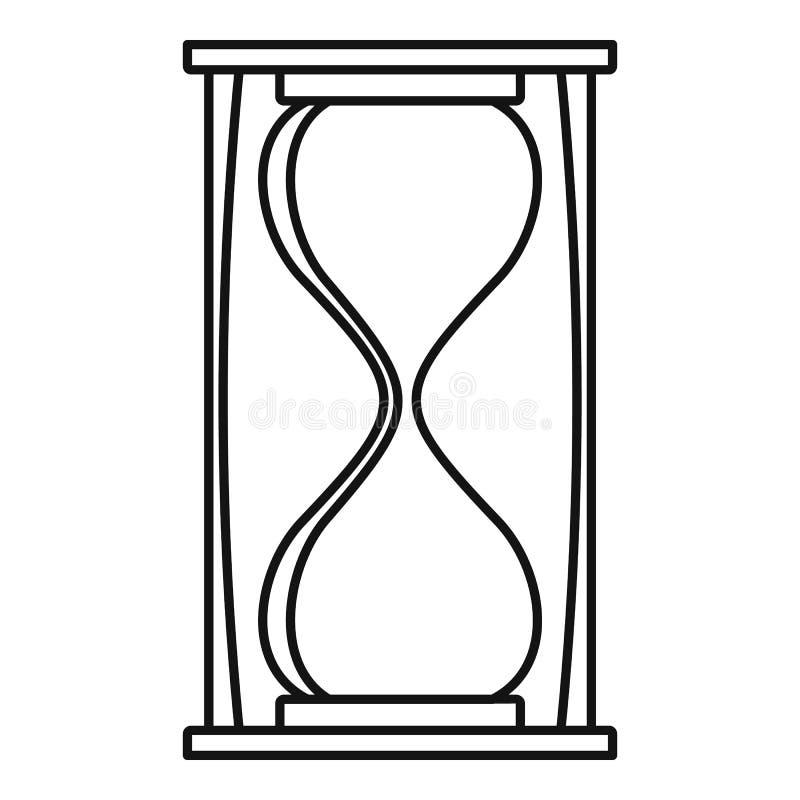 Piasek zegarowa ikona, konturu styl ilustracji
