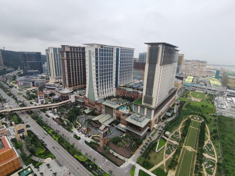 Piaska Cotai centrala przy Macau z widokiem od Paryjskiej wieży eiflej zdjęcia stock
