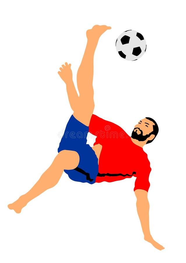 Piaska gracza piłki nożnej wektorowa ilustracja odizolowywająca na białym tle Nożycowi ruchy w meczu futbolowym ilustracja wektor