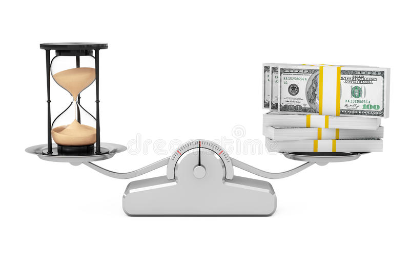Piaska Hourglass z pieniądze równoważeniem na Prostej Ważącej skala ilustracja wektor