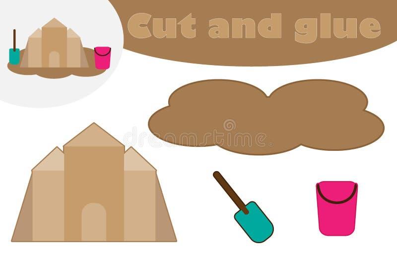 Piaska kasztel w kreskówka stylu, edukacji gra dla rozwoju preschool dzieci, używa nożyce i kleidło tworzyć ilustracji