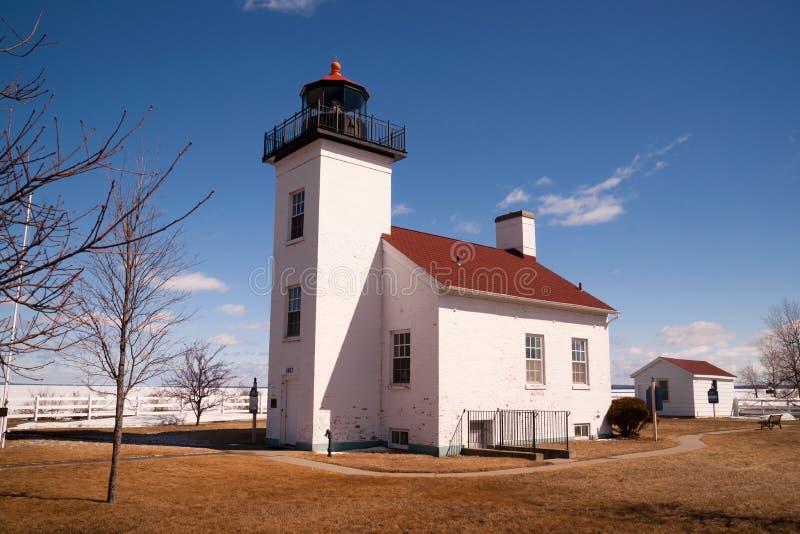 Piaska punktu latarnia morska Escanaba Michigan Mały Trzymać na dystans De Noc fotografia royalty free