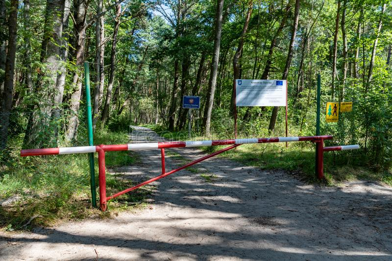 Piaski, pomorskie / Poland - August, 26, 2019: Poland`s border with Russia on Mirza WiÅ›lana. Eastern border of the European Unio. N. Summer season stock photos