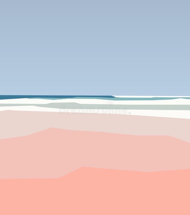 Piaskowata linia brzegowa plaża Abstrakcjonistyczny naturalny tło w stylu, beżu i błękicie minimalizmu aert, ilustracja wektor