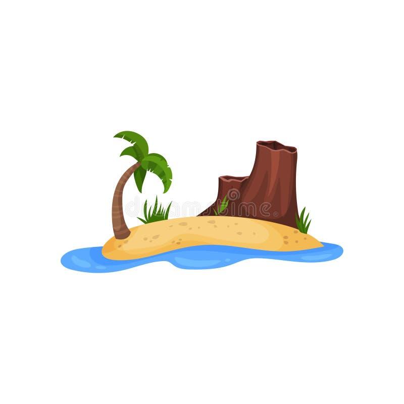 Piaskowata tropikalna wyspa z drzewka palmowego i góry wektorową ilustracją na białym tle royalty ilustracja