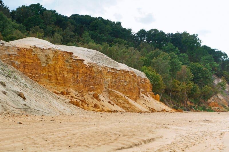 Piaskowata wysokiego morza faleza, stromy denny brzeg fotografia stock