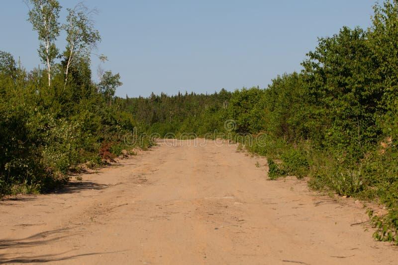 Piaskowaty Drogowy ślad w lecie w Ontario Kanada zdjęcie stock