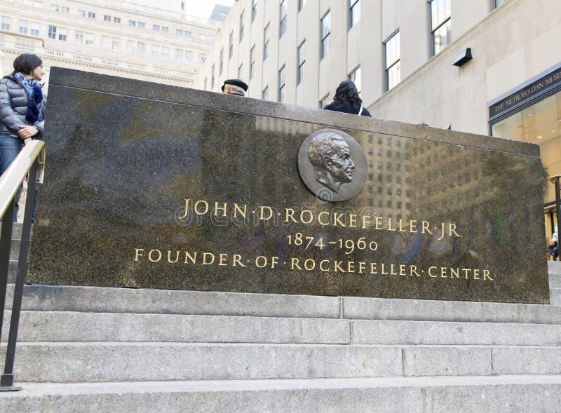 Piastra commemorativa del Rockefeller fotografia stock libera da diritti