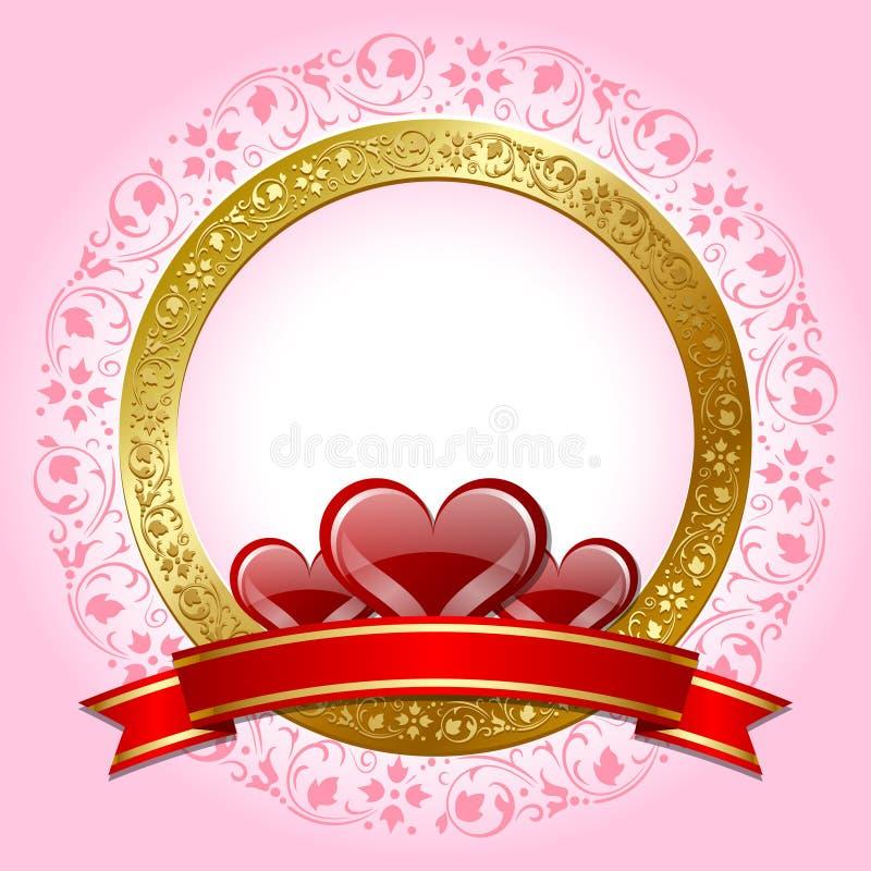 Piastra di giorno del biglietto di S. Valentino illustrazione di stock