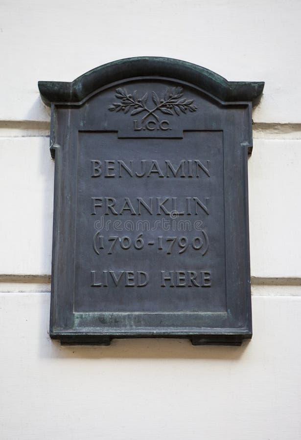 Piastra Sulla Camera Del Benjamin Franklin A Londra Immagine Editoriale