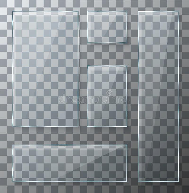Piastre di vetro trasparenti moderne di vettore messe illustrazione di stock