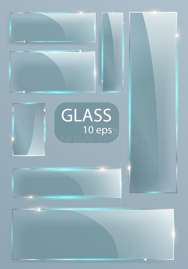 Piastre di vetro trasparenti di Seth Empty Vector il modello, disposizione dell'insegna con lo spazio della copia Struttura reali royalty illustrazione gratis