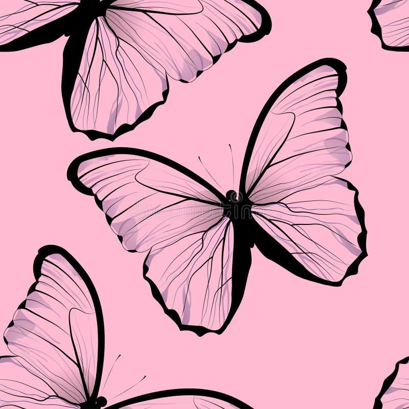 Piastrellatura senza cuciture che ripete il modello di farfalla illustrazione di stock