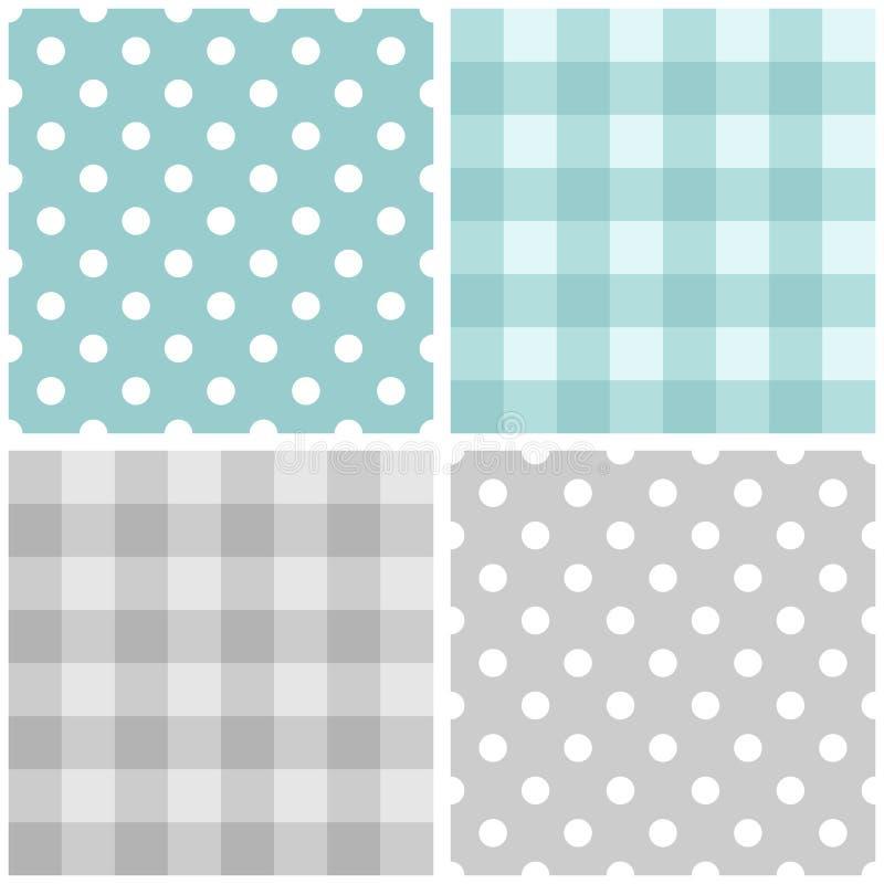 Piastrelli il modello blu e grigio determinato con i pois ed il plaid a quadretti illustrazione di stock