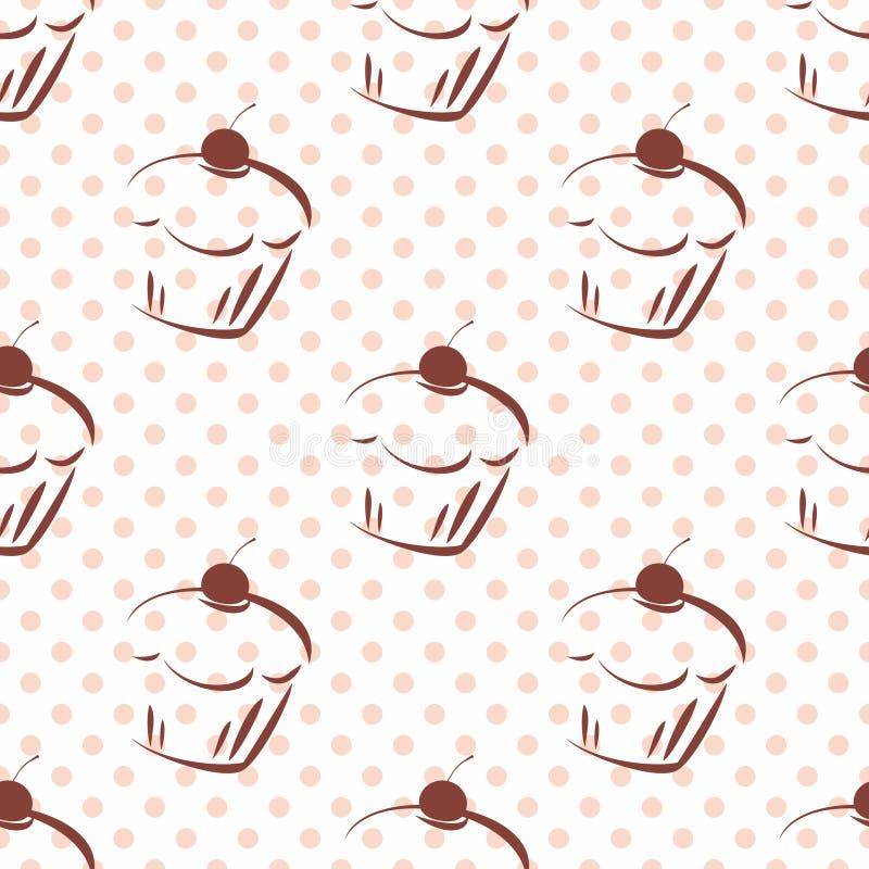 Piastrelli il modello di vettore con i bigné della ciliegia ed i pois rosa su fondo bianco illustrazione di stock