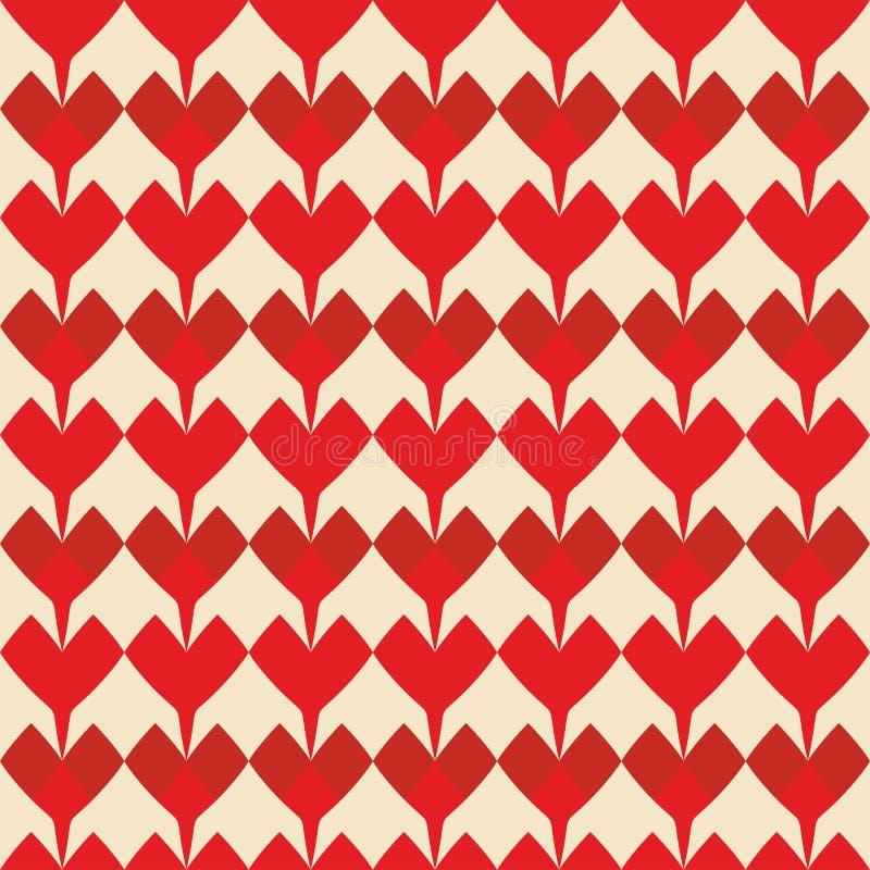 Piastrelli il modello di vettore con i cuori rossi su fondo pastello royalty illustrazione gratis
