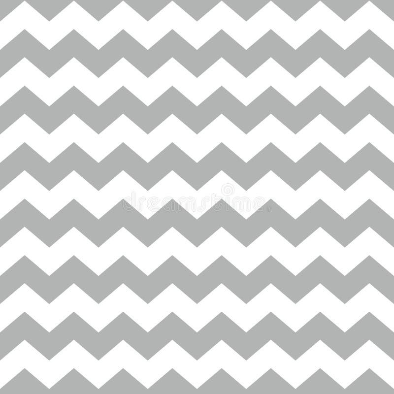 Piastrelli il modello di vettore del gallone con il fondo bianco e grigio di zigzag royalty illustrazione gratis